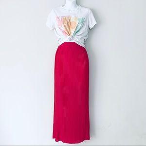 AE Magenta Accordion Pleated High Rise Maxi Skirt